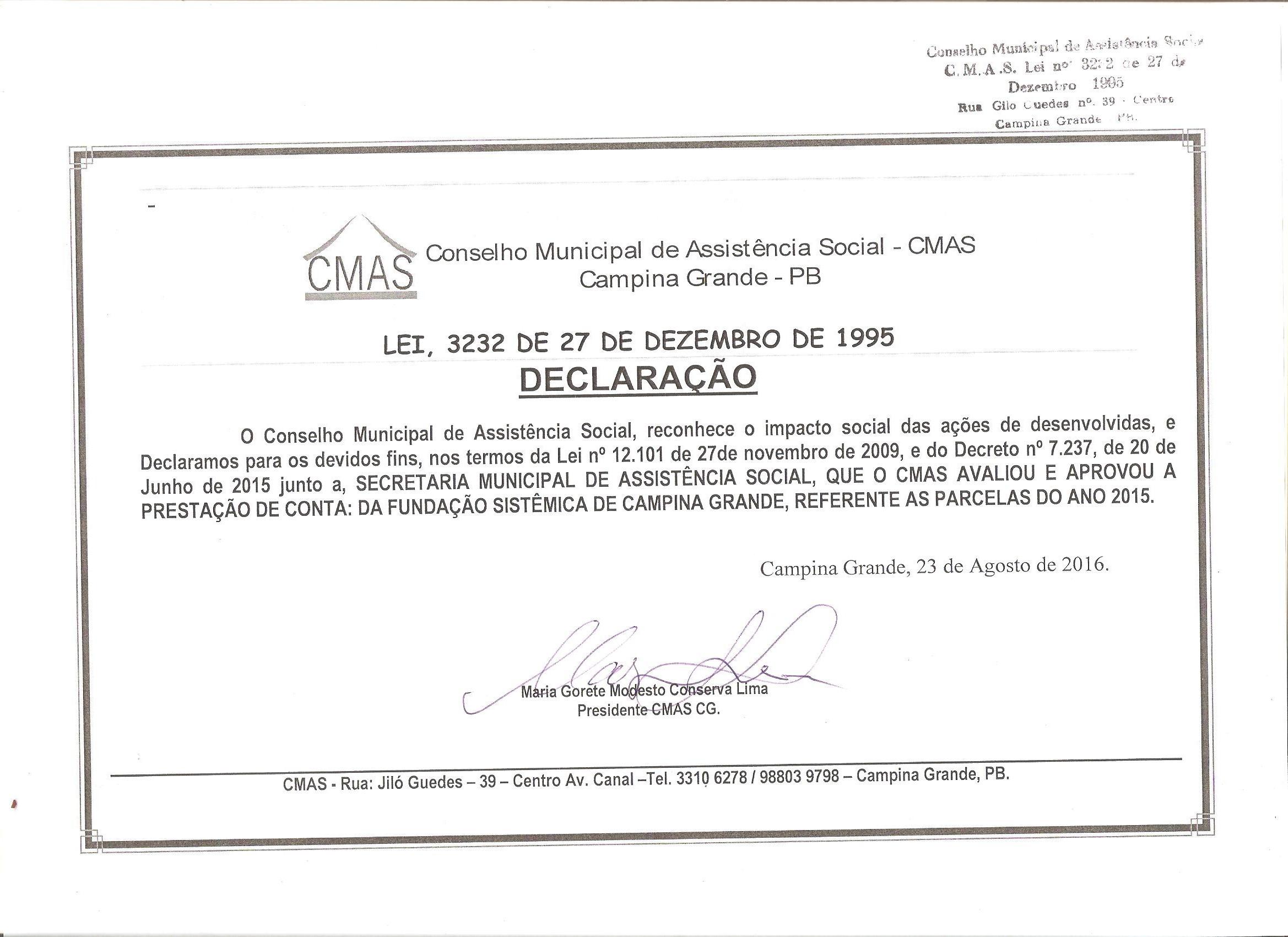 Declaração CMAS CG