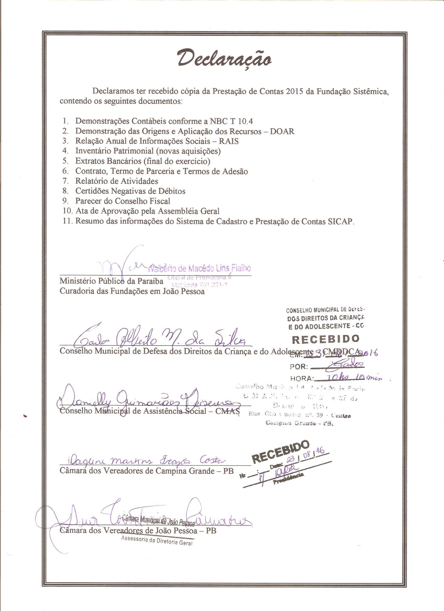 Declaração de Prestação de Contas 2015