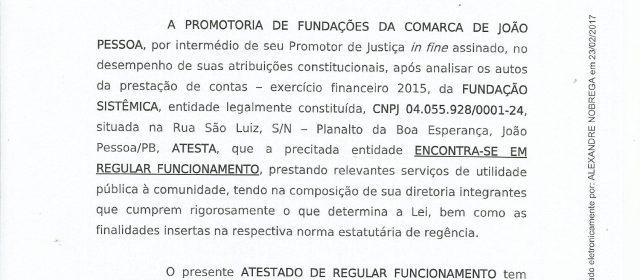 Ministério Público aprova contas 2015 da Fundação Sistêmica